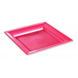 Assiette carrée thermo fushia 180 x 180 mm