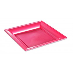 Assiette carrée thermo fushia 240 x 240 mm