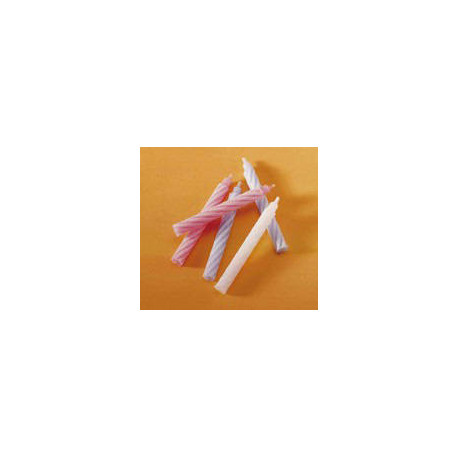 Bougie 1 an bicolore blanc-rose 60 mm x 100